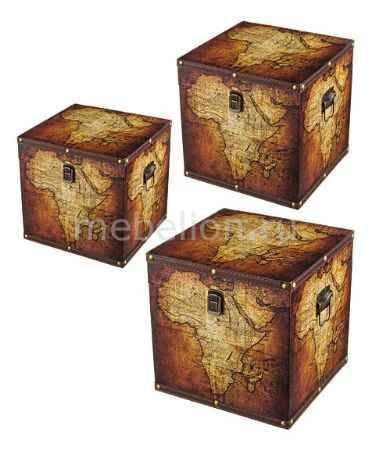 Купить АРТИ-М Набор из 3 шкатулок декоративных Карта мира 706-248