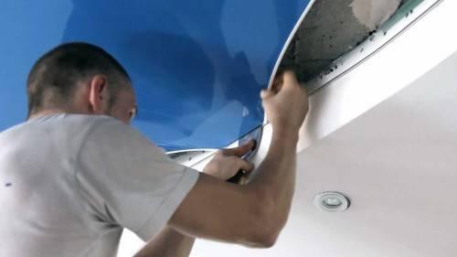 Как устанавливают натяжные потолки