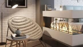Дизайны интерьера с электрокамином